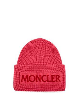 789e0a0ffba Moncler Velvet Logo Wool Beanie Hat - Womens - Pink