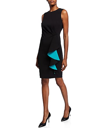 Iconic American Designer Cascading Ruffle Ruched Side Sheath Dress