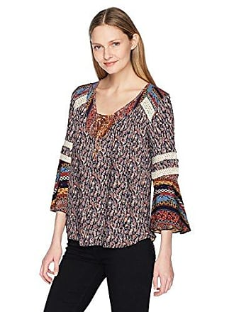 Oneworld Womens Flared Long Sleeve Peasant Top with Lace Trim, Radiant Abstract/Admiral, Medium