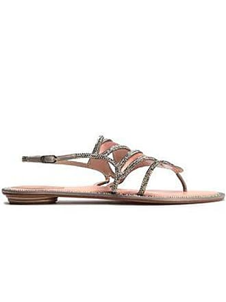 998096e5cc720 Rene Caovilla Rene Caovilla Woman Leather-trimmed Crystal-embellished Satin  Sandals Blush Size 37.5