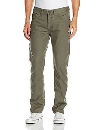 Buffalo David Bitton Mens Six Slim Straight Leg Jean In Rifted and Lightly Crinkled Olive, Rifted/Lightly Crinkled Olive, 36x30