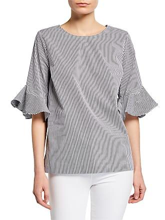 Iconic American Designer Stripe Flutter-Sleeve Top