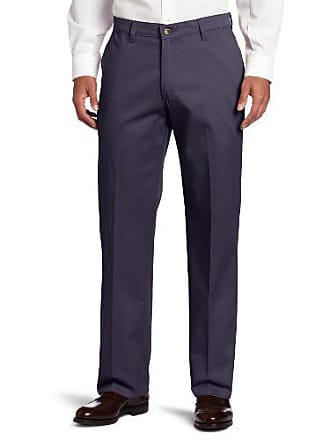 Lee Lee Mens Comfort Waist Custom Relaxed Fit Flat Front Pant, New Navy, 40W x 29L