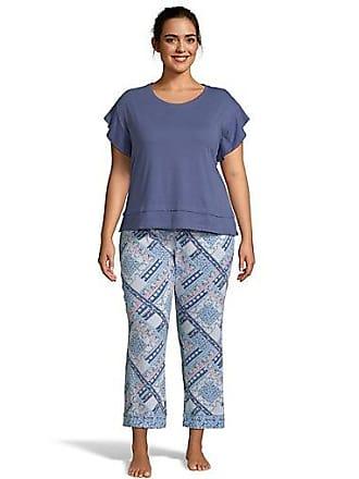 One Hanes Place Muk Luks Flutter Sleeve Sleep Set Blue Patchwork XL