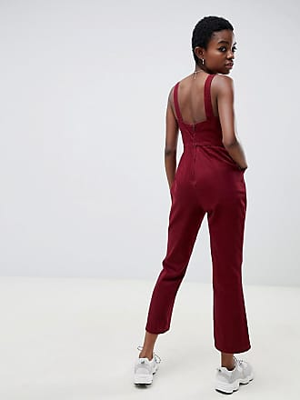 65feda66c9d8 Asos Petite ASOS DESIGN Petite denim jumpsuit with kickflare in berry - Red