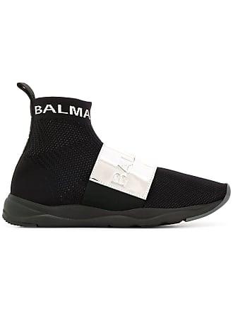 Balmain hi-top plaque sneakers - Black