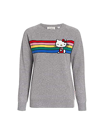 Chinti and Parker Hello Kitty Rainbow Striped Cashmere Sweater Grey Multi