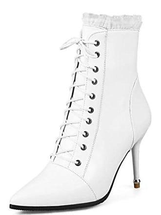 3f52a7f490 Easemax Damen Modisch Spitze Zehe Lace Up Stilettos High Heels Stiefel Weiß  41 EU