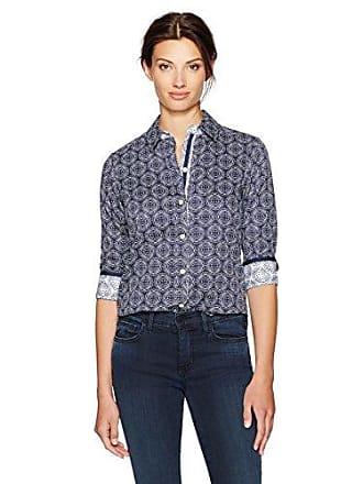 Foxcroft Womens Ava Twilight Dots Wrinkle Free Shirt, Navy/White 10