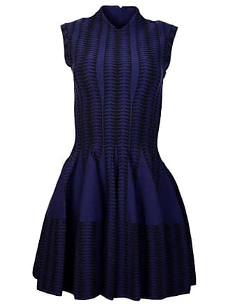 bd3714f18c7 Alaia Alaia Navy black V-neck Fit   Flare Cap Sleeve Dress Sz 38