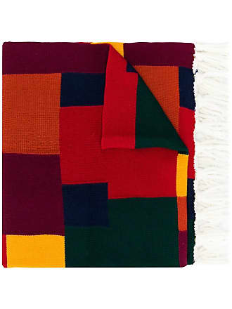 Woolrich colour-block fringed scarf - Vermelho
