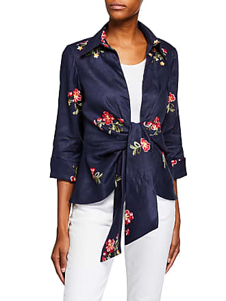 Neiman Marcus Tie-Front Floral Embroidered Wrap Jacket