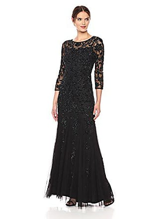 Adrianna Papell Womens Long Sleeve Beaded Gown, Black, 2