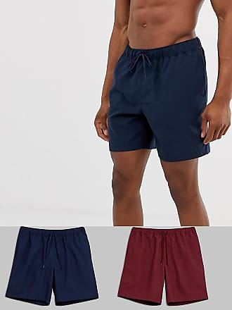 fed9a5a2f1 Asos swim shorts in burgundy & navy mid length 2 pack multipack saving