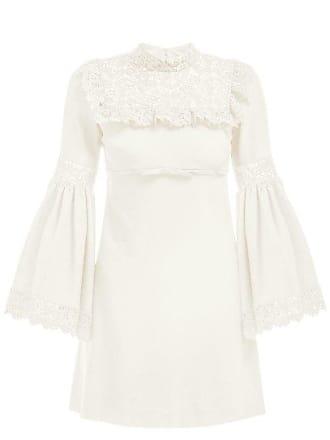 Giambattista Valli Lace Panel Crepe Dress - Womens - Ivory