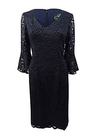 Alex Evenings Womens Short Shift Dress W/Bell Sleeves (Petite and Regular Sizes), Navy Gold, 14