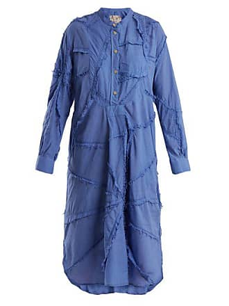 By Walid Patchwork Cotton Shirtdress - Womens - Blue