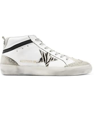b1c73649ed05 Golden Goose Mid Star Distressed Leather, Suede And Zebra-print Pony Hair  Sneakers -