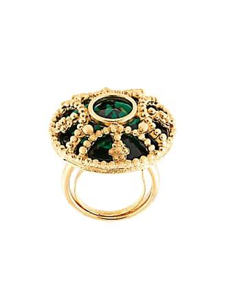 Kenneth Jay Lane stone circle ring - Dourado
