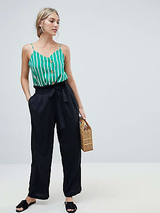 Vero Moda waist tie wide leg pants - Black