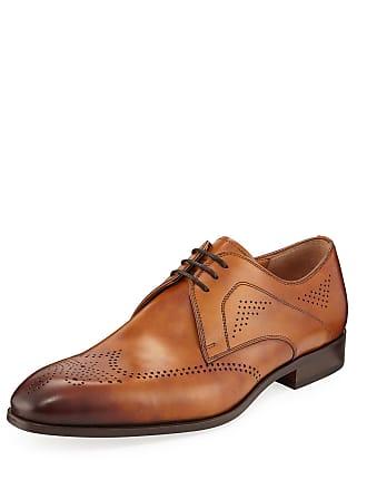 Magnanni Mens Antiqued Leather Wingtip Oxfords
