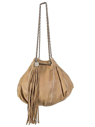 a031f4504879 Chanel Beige Leather   White Satin Reversible Tassel Small Bucket Bag