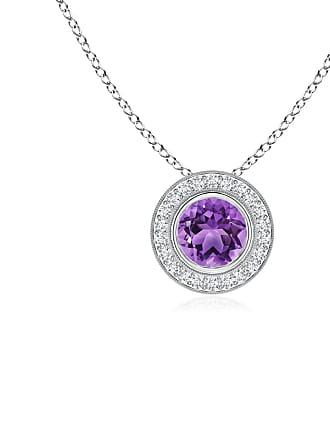 Angara Valentine Day Sale - Bezel-Set Amethyst Pendant with Diamond Halo