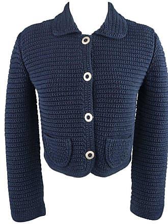 bd5bdf5fcbda Oscar De La Renta Size M Blue Cotton Sailor Knit Silver Snap Cropped Jacket