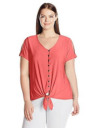 8dedacc7033c93 Notations Womens Plus Size Short Slit Sleeve Solid Knit Button Down Tie  from Top, Coral
