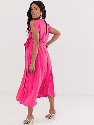 b384899542a Asos Maternity ASOS DESIGN Maternity split cap sleeve high neck midi dress  with skater skirt -