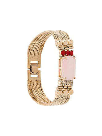 Iosselliani Pulseira Elegua banhada a ouro com quartzo rosa - Metálico