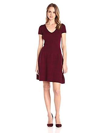 Sofiacashmere Womens Cashmere Short Sleeve V Neck Dress, Burgundy, XS