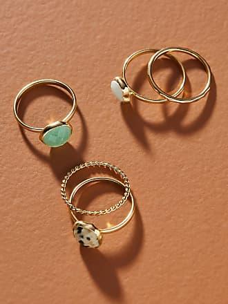Anthropologie Gemstone Stacking Ring Set