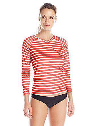 Kanu Surf Womens UPF 50+ Long Sleeve Active Swim Tee & Workout Top, Red, XX-Large