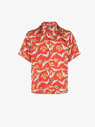 Amiri crane print silk shirt