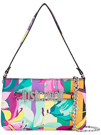 Just Cavalli Bolsa de mão floral com logo - Rosa