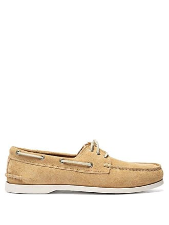Quoddy Downeast Suede Deck Shoes - Mens - Beige