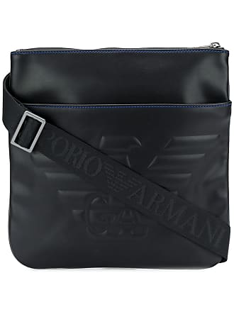 Emporio Armani faux leather embossed logo messenger bag - Black