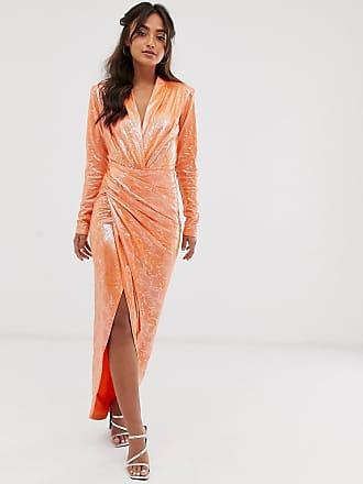 e5c07434a9 John Zack wrap front snake maxi dress in orange - Orange