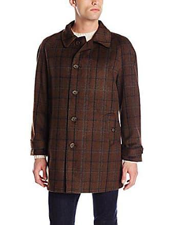 Stacy Adams Stacy Adams Mens Dan R Five Button Reversible Top Coat, Brown Plaid/Brown, 38 Regular