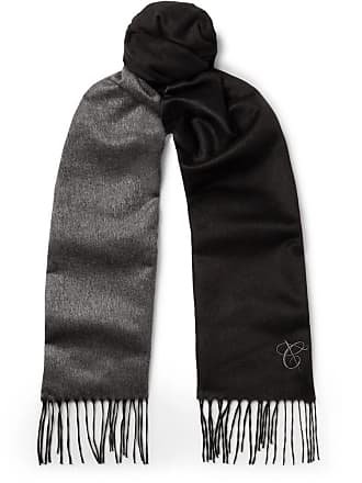 Canali Two-tone Silk And Cashmere-blend Scarf - Black