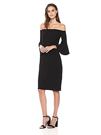 3c33323d28d5 Betsy & Adam Womens Off The Shoulder Dress with Ruffle Sleeves, Black 8