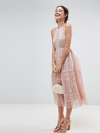 Asos ASOS Lace Pinny Scallop Edge Midi Prom Dress - Pink
