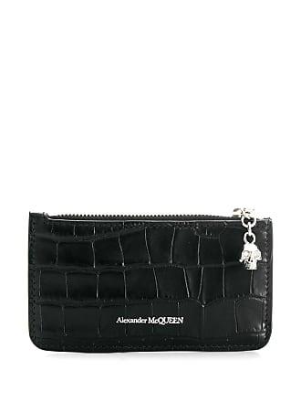 Alexander McQueen crocodile embossed cardholder wallet - Black