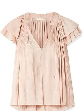 Ulla Johnson Sade Plissé-satin Top - Pastel pink