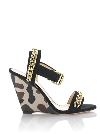 ae6fb15116d Giuseppe Zanotti Wedge sandals Coline with ankle strap suede black canvas  camouflage