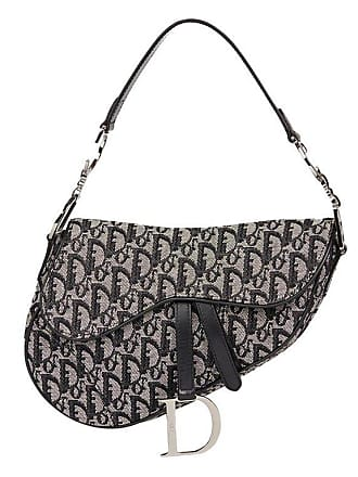 fadfb11505d5 Dior 2003 Christian Dior Black Monogram Canvas Saddle Bag