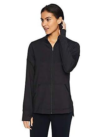 Natori Womens Jersey Zip-Up Jacket, Black, X-Large