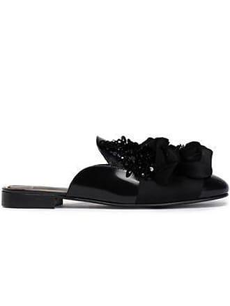 Lanvin Lanvin Woman Embellished Leather Slippers Black Size 36.5