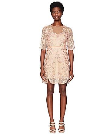 bc569770ba Marchesa 3/4 Sleeve Metallic Filagree Embroidered Cocktail Dress (Blush)  Womens Dress